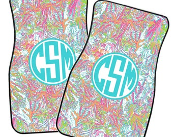 Lilly Pulitzer Inspired Monogrammed Car Mat Set