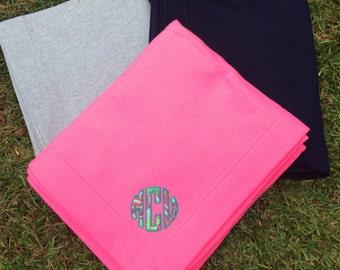 Monogrammed Lilly Pulitzer Stadium Sweatshirt Blanket