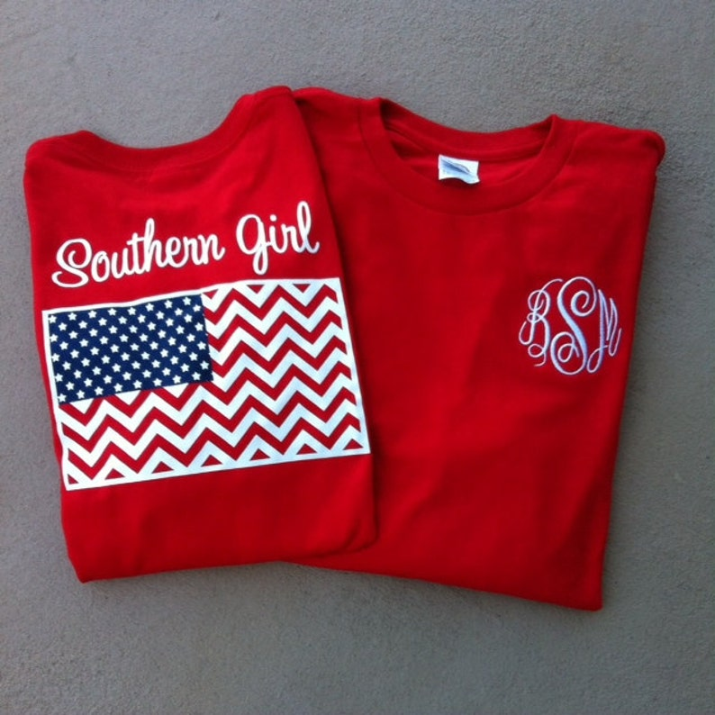 Monogrammed Southern Girl Chevron American Flag Tshirt image 0