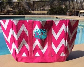 Hot Pink Chevron Reusable Eco Friendly Monogrammed Beach Bag