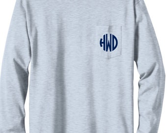 Gray Long Sleeve Monogrammed T Shirt with Pocket