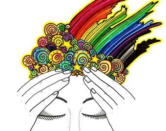 Rainbow Intuition 3rd Eye Chakra 8x10 Print, chakra art, aura art, energy field, rainbow aura, meditation print, intuition, third eye chakra
