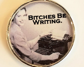 Bitches Be Writing Pendant and Chain