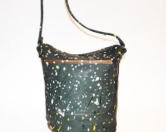 The Jumbo Bucket Bag- Paint Splatter-Leather Bucket