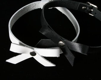 Leather Bow Choker- Leather Necklace-New Leather- 90's Style~ TREASURY LIST ITEM- Ready to Ship