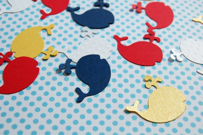 whale table confetti baby shower decor die cut whales red yellow navy white  200 pieces