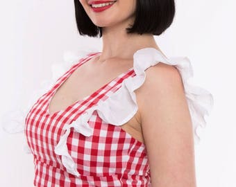 39b8785029423 ALICE TOP - Red Gingham - 40s Forties Inspired Crop - Vintage Rockabilly  Pinup - Powderpuff Boutique