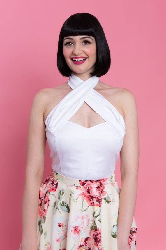exclusive deals picked up cheaper EVITA TOP - White - Halter or X - Wear it 2 ways - Pinup 50s Vintage  Inspired - Powderpuff Boutique