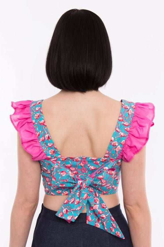 627356841e8b6 ALICE TOP Pink Flamingo 40s Forties Inspired Crop
