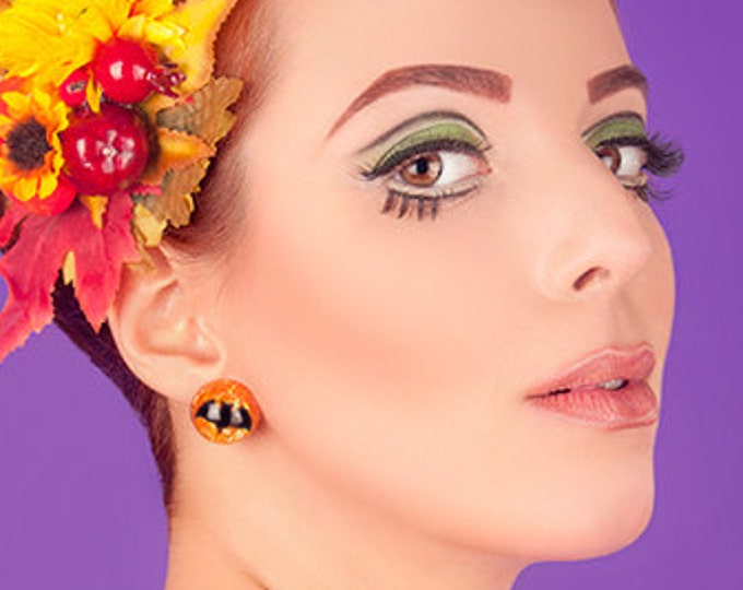 Confetti Lucite Halloween Bat Pumpkin - Earrings - Vintage Halloween Jewelry - Witch Jewelry - Spooky - Trick or Treats - Glitter Paradise®