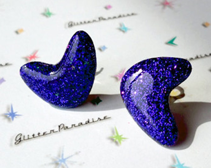 Confetti Lucite Atomic Boomerang Blue - Earrings - Glitter Boomerangs - Mid-Century Modern - Retro Earrings - Pinup - Glitter Paradise®
