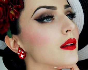 Confetti Lucite Sparkles Facet Drop Red - Earrings - Mid-Century Modern - Sparkles - Glitter Earrings - Retro Jewelry - Glitter Paradise®
