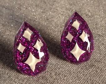 Lucite Sparkles Facet Drop Purple - Earrings - Mid-Century Modern - Sparkles - Glitter Earrings - Retro Jewelry - Pinup - Glitter Paradise®