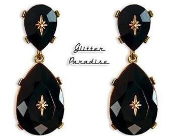 Atomic Diamond Drops Black - Earrings - Dangle Diamonds - Princess Prom Jewels - Retro Glam - Bal Earrings - 50s - 60s - Glitter Paradise®