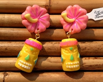 Tiki Rainbow & Hibiscus - Earrings - Tiki Jewelry - Aloha - Tiki Oasis - Hula Girl - Vintage Exotica - Totem - Tropical - Glitter Paradise®