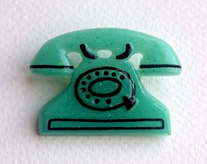 Fakelite Retro Phone Bottle Green - Brooch - 50s - 60s - Mid-Century Modern - Fake Celluloid - Retro Jewelry - Telephone - Glitter Paradise®