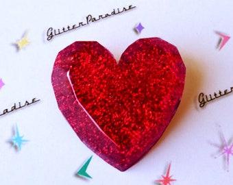 Confetti Lucite Heart - Brooch - Heart Jewelry - Love - Valentines - I love U - 50s - Retro - Vintage Inspired - Glitter - Glitter Paradise®