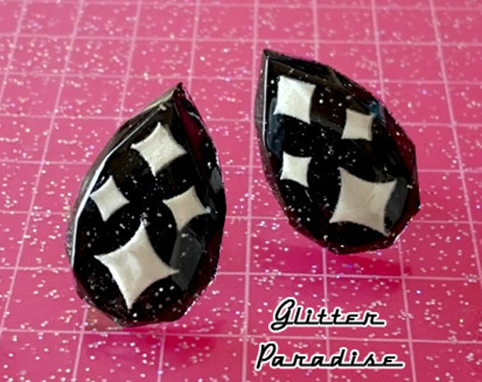Confetti Lucite Sparkles Facet Drop Black - Earrings - Mid-Century Modern - Sparkles - Glitter - Retro Jewelry - Pinup - Glitter Paradise®