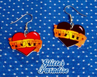Love & Hate - Earrings - Tattoo - Old School - Sailor Jerry - Pin-up Jewelry - Retro - Tattoo Jewelry - Tattoo Fashion - Glitter Paradise®