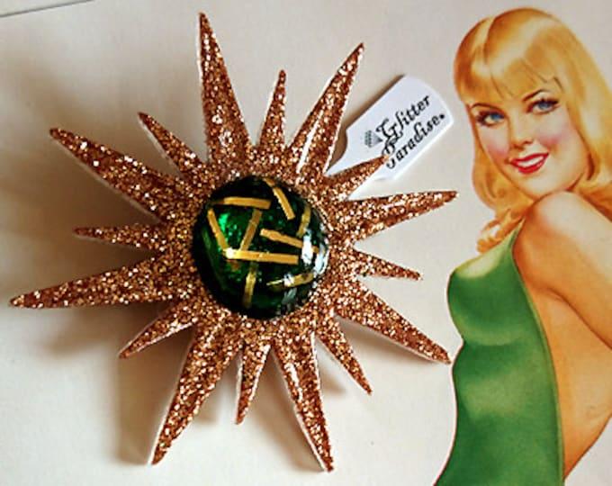 Mid-Century Modern Sunburst Gold and Green - Brooch - Star Brooch - Sun Brooch - 1950 - Sunburst Mirror - Starburst - Glitter Paradise®