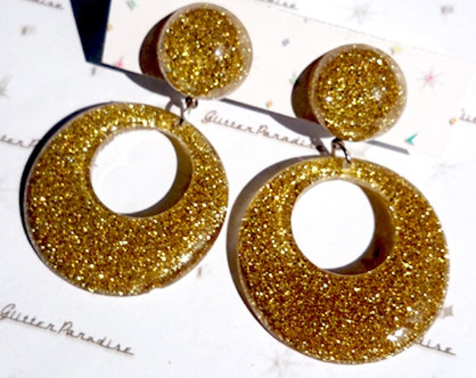 Confetti Lucite Hoops & Dômes Gold - Earrings - Confetti Lucite - Hoops Earrings - Glitter Hoops - Retro - Pinup - 50s - Glitter Paradise®