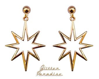 Retro Northern Star Gold - Earrings - Mid-Century Modern - Motel Star - Starlite - Starburst Earrings - Retro Earrings - Glitter Paradise®