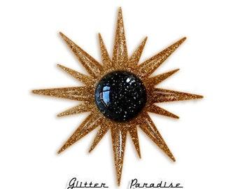 Mid-Century Modern Sunburst - Brooch - Star Brooch - Sun Brooch - 1950 - Sunburst Mirror - Starburst Brooch - Celestial - Glitter Paradise®