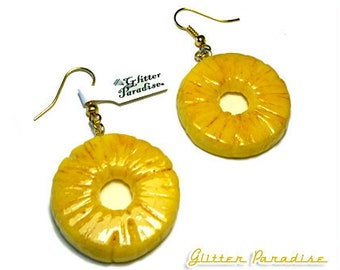 Fakelite Pineapple Slices - Earrings - Pineapple - Hawaii - Tropical Jewelry - Fruit - Piña colada - Pineapple Earrings - Glitter Paradise®