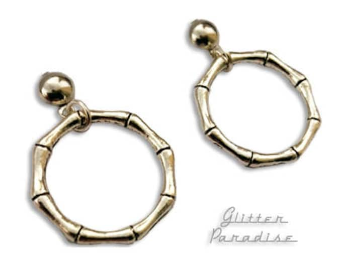 Marilyn Hoops Bamboo - Earrings - Bamboo Jewelry - Bamboo Loop - Bamboo Hoops - Retro Hoops - Hoops & Domes Earrings - Glitter Paradise®