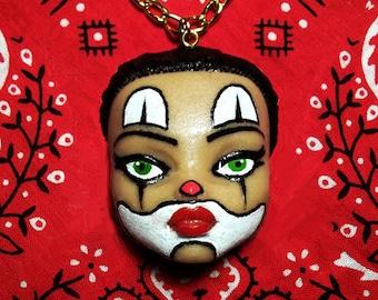 DollFace Chola Clown - Necklace - Payasa - Mexican Clown Necklace - Pachuca Jewelry - Chicana Jewelry - Chingona Jewelry - Glitter Paradise®