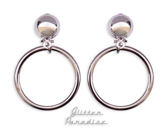 Marilyn Hoops Silver - Earrings - Hoops & Domes - Barbie Hoops - Hoop Earrings - Pinup Hoops - Retro Hoops - 50s - Vixen - Glitter Paradise®