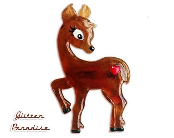 Little Sweet Peavy Deer - Brooch - Fakelite - Retro Deer - Little Deer - 50's Fawn Deer - Bambi Jewelry - Novelty Brooch - Glitter Paradise®