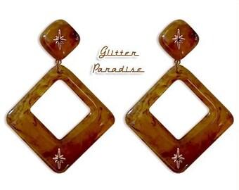 Atomic Square Hoops Mapple - Earrings - Mid-Century Modern - Starlite Motel - 50s  - Retro Jewelry - Vintage Inspired - Glitter Paradise®