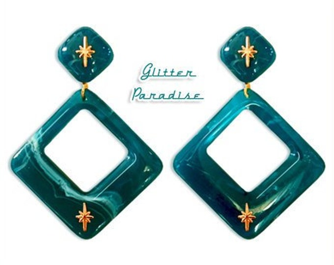 Atomic Square Hoops Lagoon - Earrings - Nails - Lagoon or Mapple - Mid-Century Modern - Starlite Motel