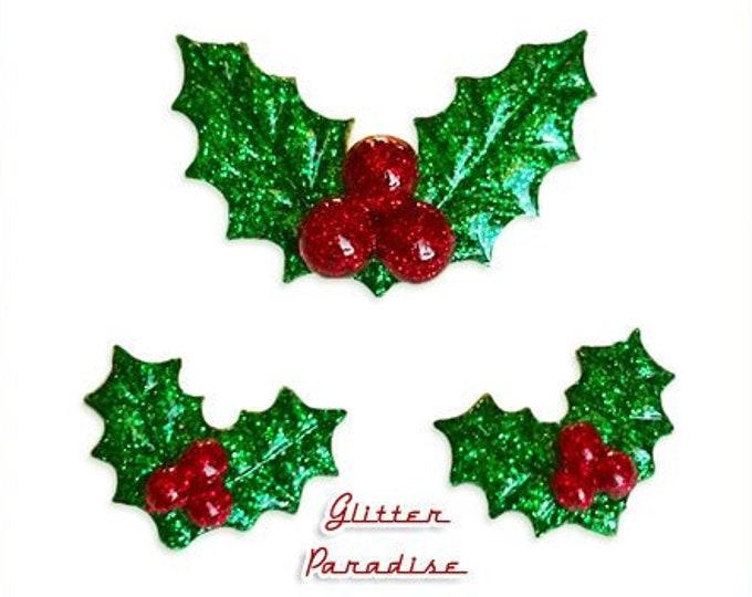 Christmas Glitter Holly Set