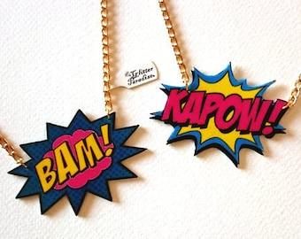 BAM! KAPOW! - Necklace - Cosplay - Comic - Super Hero - Comics - DC Comic - Fight - Cartoon - Manga - Marvel - Pop Art - Glitter Paradise®