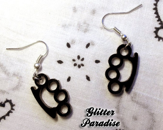 Brass Knuckles - Earrings - Knuckle Duster - Fighter - Weapon - Fight Back - fighter jewelry - Women Fight - Duster - Glitter Paradise®