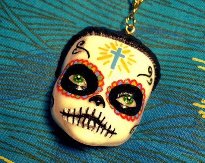 DollFace Sugar Skull - Necklace - Doll Face - Calavera - Dia de los Muertos - Muerta - Mexican Folk - Day of the Dead - Glitter Paradise®