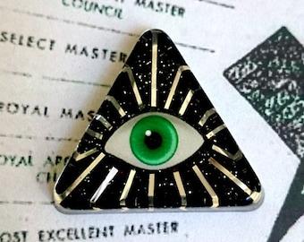 Eye of Providence - Brooch - Eye of Providence - Pyramid - All seeing Eye - Eye of God - illuminati - NWO - Freemason - Glitter Paradise®