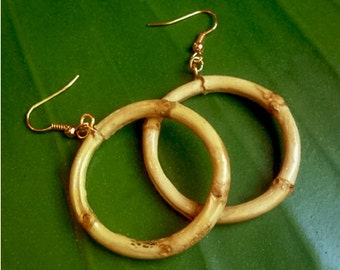 Natural Bamboo Hoops - Earrings - Bamboo Root - Bamboo Hoops - Bamboo Jewelry - Vintage Exotica - Beach Jewelry - Wahine - Glitter Paradise®