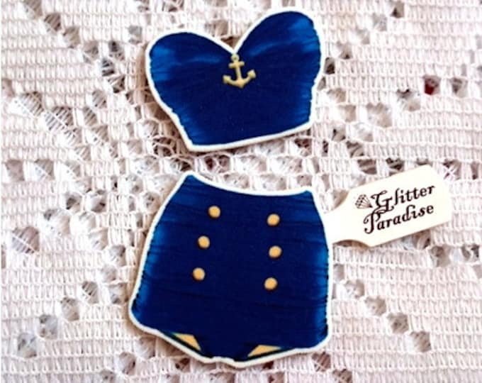 Retro High Waist Heart Set Navy - Brooch Set - Retro Swimsuit - Vintage Sleaze - 1950s - 50s Bathsuit - Vintage Summer - Glitter Paradise®
