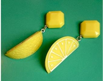 Fakelite Lemon Slices - Earrings - Lemon - Orange - Citrus - Fruits - Vintage Exotica - Fakelite - 50s - Retro - Pinup - Glitter Paradise®