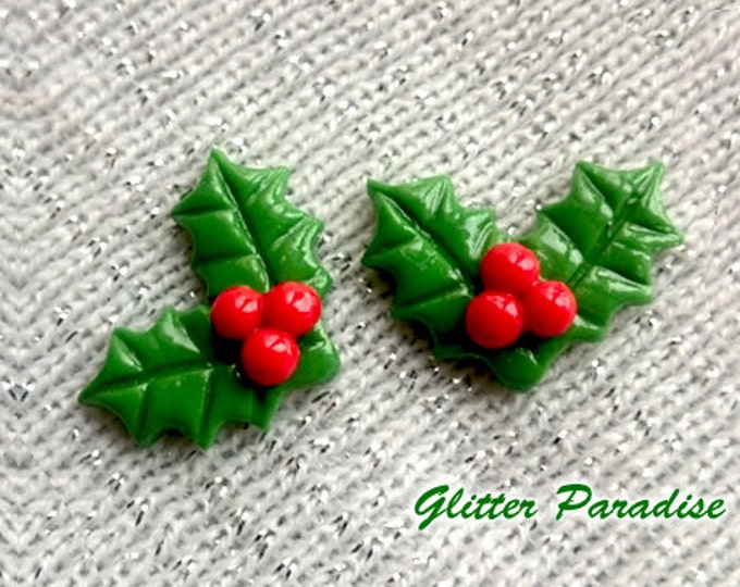 Christmas Holly - Earrings - Retro Christmas - Merry Christmas - Holly Berries - Winter - Holly Jewelries - Holidays - Glitter Paradise®