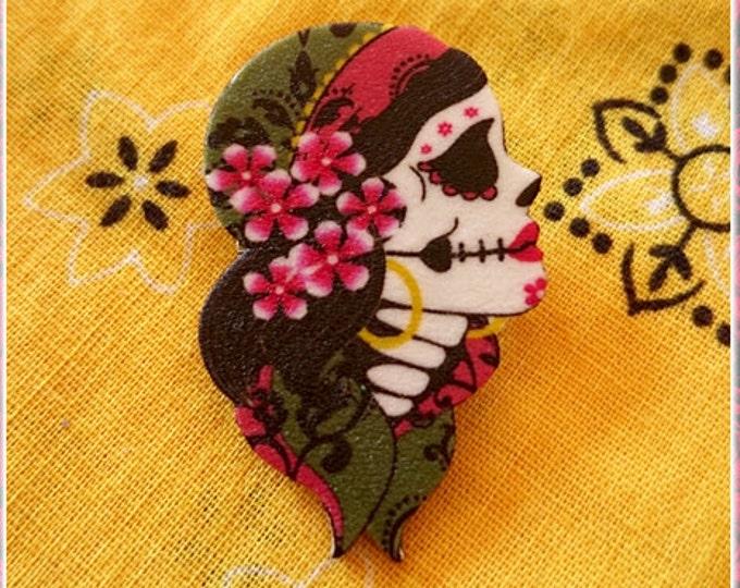 Gypsy Sakura - Brooch - Dia de Los Muertos - Calavera - Day of The Dead - Muerta - Sugar Skull - Mexican Folk - Frida - Glitter Paradise®