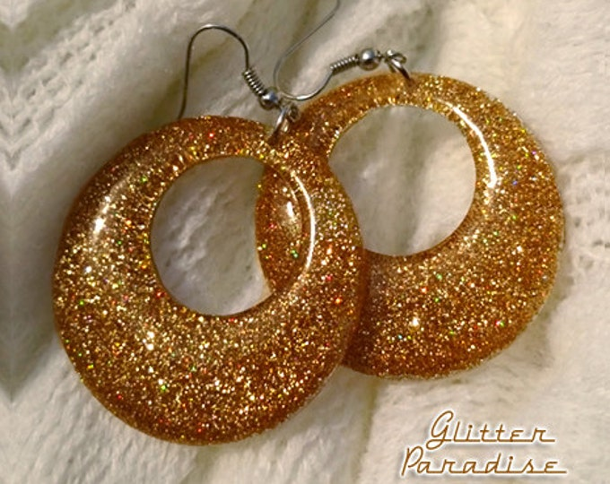 Confetti Lucite Hoops Gold - Earrings - Confetti Lucite Hoops - Hoops Earrings - Glitter Hoops - Retro Earrings - Pinup - Glitter Paradise®