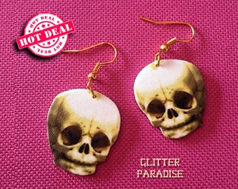Baby Skull - Earrings - Skulls - Skeleton Twins - Calavera - Cute Skull - Cute & Dead - Kawaii Skull - Bones - Gothic - Glitter Paradise®