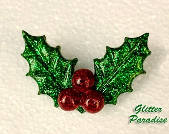 Christmas Glitter Holly - Retro Christmas - Merry Christmas - Holly Berries - Winter Lucite - Holly Jewelries - Holidays - Glitter Paradise®