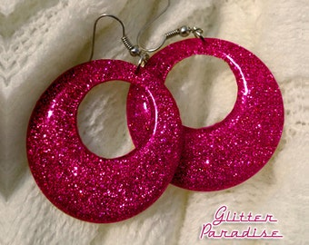 Confetti Lucite Hoops Plum - Earrings - Confetti Lucite Hoops - Hoops Earrings - Glitter Hoops - Retro Earrings - Pinup - Glitter Paradise®