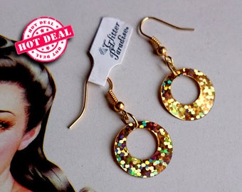 Baby Hoops Holographic - Earrings - Hoops Glitter - Psyche Hoops - Hoops Earrings - Pinup Hoops - Retro Hoops - 50s - Glitter Paradise®