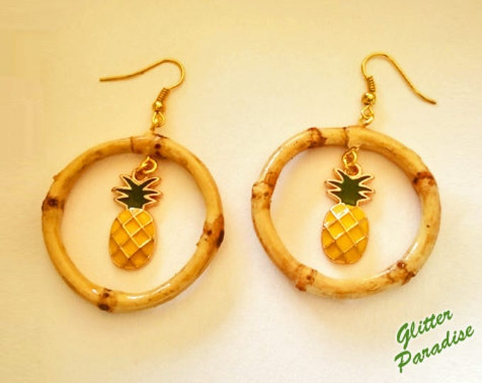 Natural Bamboo & Pineapple - Earrings - Bamboo Root - Bamboo Hoops - Bamboo Jewelry - Pineapple Earrings - 50's - Retro - Glitter Paradise®